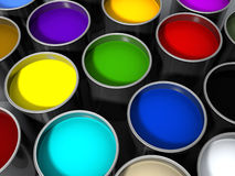 Paint cans. 3d rendered paint cans, various colors Stock Photography