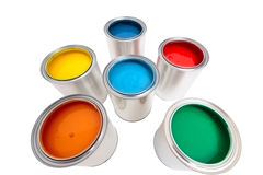 Paint cans. On white background Royalty Free Stock Images