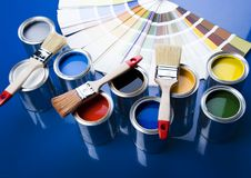 Paint and cans. Let your world be colourful royalty free stock images