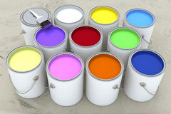Paint Cans. 3d render of several open paint cans of assorted colors Stock Image