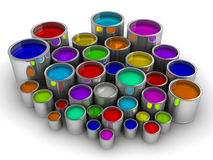 Paint cans 3. A lot of colorful paint cans on white - rendered in 3d Stock Photography