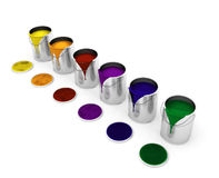 Paint cans. 3D render of dripping paint cans Royalty Free Stock Photo