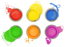 Paint cans. Six colorful paint cans with spilled paint isolated on white royalty free stock photos
