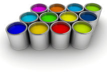 Paint cans. Colorful paint cans on white - rendered in 3d royalty free stock photography