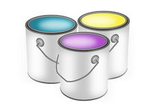Paint cans. Blue, yellow, and purple paint cans illustration Royalty Free Stock Image