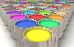 Paint Cans. An infinite array of paint cans filled with colorful paint Royalty Free Stock Image