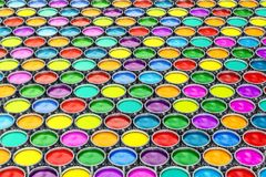 Paint cans background, backdrop. 3D. Rendering Stock Photos