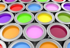 Paint cans. Background, 3d render Stock Photography