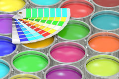 Paint cans background with pantone color palette guide. 3D rende Stock Photo