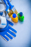 Paint cans bottles brushes duct tapes and Royalty Free Stock Image