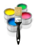 Paint cans and brush Stock Photography