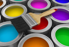 Paint cans with brush (clipping path included) Stock Photos