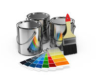 Paint cans with brush and Pantone Royalty Free Stock Photo