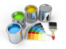 Paint cans with brush and Pantone. Color guide Stock Photography