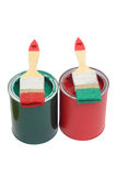 Paint cans with brush Royalty Free Stock Images