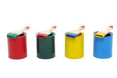 Paint cans with brush Royalty Free Stock Photography