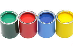 Paint cans with brush Stock Photos