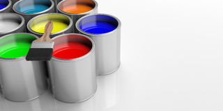 Paint cans and paintbrush on white background, 3d illustration. Paint cans and paint brush on white background, 3d illustration Royalty Free Stock Photo