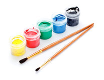 Paint Cans and Brushes Royalty Free Stock Photo