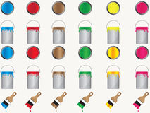 Paint cans and brushes Stock Photos