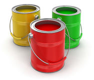 Paint cans (clipping path included) Royalty Free Stock Images