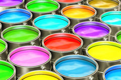 Paint cans closeup background. 3D Royalty Free Stock Photography