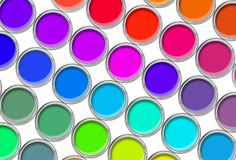 Paint cans color palette, cans opened top view Royalty Free Stock Photos