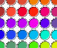 Paint cans color palette, cans opened top view Stock Images