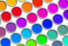 Paint cans color palette, cans opened top view isolated on white. Background stock photo