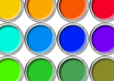 Paint cans color palette, cans opened top view isolated on white stock photos