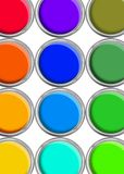 Paint cans color palette, cans opened top view on white. Background stock images