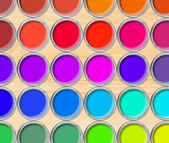 Paint cans color palette, cans opened top view on wooden table. Background royalty free stock images