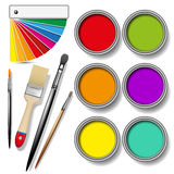 Paint cans color palette. Coloured swatches and paint cans with paintbrush on white background. Vector illustration Royalty Free Stock Image