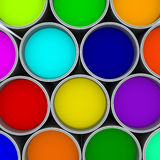 Paint cans color palette,. Cans opened top view isolated on white royalty free stock photography
