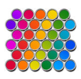 Paint cans color spectrum. Top view isolated on white stock illustration