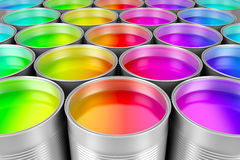 Paint cans of colorful paint Royalty Free Stock Photography