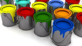 Paint cans and colors. 3d render. Paint cans and colors Stock Images