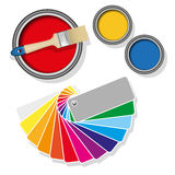 Paint cans with coloured swatches. Coloured swatches and paint cans with paintbrush on white background. Vector illustration Royalty Free Stock Image