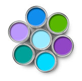 Paint cans cool colors palette. Cool colors paint tin cans opened top view isolated on white stock photo