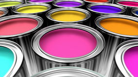 Paint cans 3D animation stock video footage