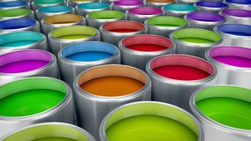 Paint cans 3d rendering Royalty Free Stock Photo