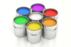 Paint cans, 3D rendering. On white background Stock Images