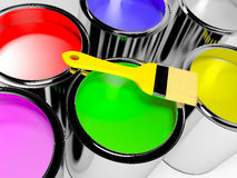Paint cans. With different colors and brush Stock Photo