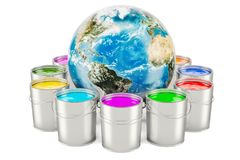 Paint cans with Earth Globe, 3D rendering. Isolated on white background Royalty Free Stock Images