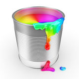 Paint cans full of colorful paint. 3d render Stock Photography
