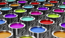 Paint cans. Group of paint cans with different colors Stock Photos