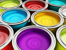 Paint cans. Multicolored paint cans background. Home decoration concept royalty free stock image