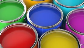 Paint cans open. With various colors, viewed from above Stock Photos