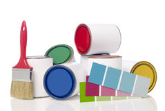 Paint cans, paint brush and color chart Royalty Free Stock Photos