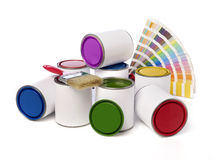 Paint cans, paint brush and color swatch Royalty Free Stock Image